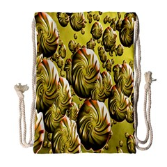 Melting Gold Drops Brighten Version Abstract Pattern Revised Edition Drawstring Bag (large)