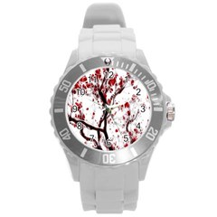 Tree Art Artistic Abstract Background Round Plastic Sport Watch (l)