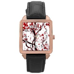 Tree Art Artistic Abstract Background Rose Gold Leather Watch
