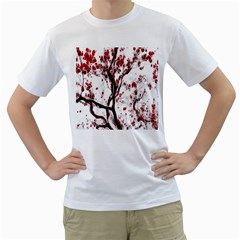 Tree Art Artistic Abstract Background Men s T Shirt (white)