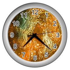 Light Effect Abstract Background Wallpaper Wall Clocks (Silver)