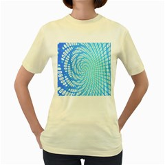 Abstract Pattern Neon Glow Background Women s Yellow T-Shirt