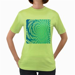 Abstract Pattern Neon Glow Background Women s Green T-Shirt