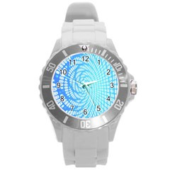 Abstract Pattern Neon Glow Background Round Plastic Sport Watch (L)