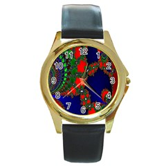 Recurring Circles In Shape Of Amphitheatre Round Gold Metal Watch