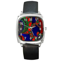 Recurring Circles In Shape Of Amphitheatre Square Metal Watch