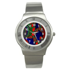 Recurring Circles In Shape Of Amphitheatre Stainless Steel Watch