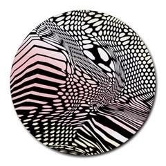 Abstract Fauna Pattern When Zebra And Giraffe Melt Together Round Mousepads