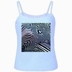 Abstract Fauna Pattern When Zebra And Giraffe Melt Together Baby Blue Spaghetti Tank
