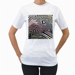 Abstract Fauna Pattern When Zebra And Giraffe Melt Together Women s T Shirt (white) (two Sided)