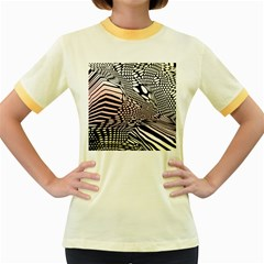 Abstract Fauna Pattern When Zebra And Giraffe Melt Together Women s Fitted Ringer T Shirts