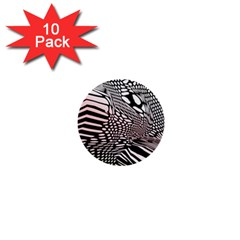 Abstract Fauna Pattern When Zebra And Giraffe Melt Together 1  Mini Buttons (10 Pack)
