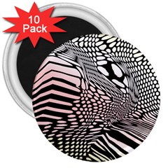 Abstract Fauna Pattern When Zebra And Giraffe Melt Together 3  Magnets (10 pack)