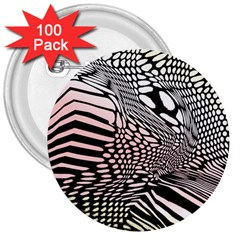 Abstract Fauna Pattern When Zebra And Giraffe Melt Together 3  Buttons (100 Pack)