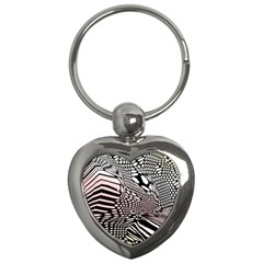 Abstract Fauna Pattern When Zebra And Giraffe Melt Together Key Chains (heart)
