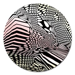 Abstract Fauna Pattern When Zebra And Giraffe Melt Together Magnet 5  (Round)