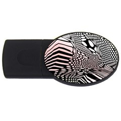 Abstract Fauna Pattern When Zebra And Giraffe Melt Together USB Flash Drive Oval (1 GB)