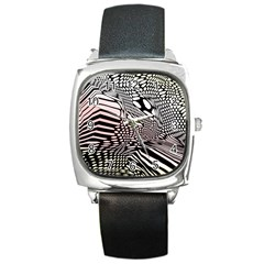 Abstract Fauna Pattern When Zebra And Giraffe Melt Together Square Metal Watch