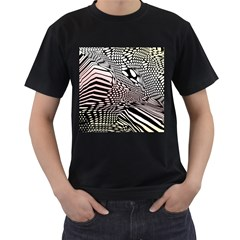 Abstract Fauna Pattern When Zebra And Giraffe Melt Together Men s T-Shirt (Black) (Two Sided)