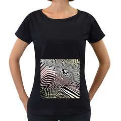 Abstract Fauna Pattern When Zebra And Giraffe Melt Together Women s Loose-Fit T-Shirt (Black)