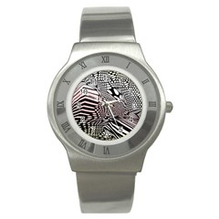 Abstract Fauna Pattern When Zebra And Giraffe Melt Together Stainless Steel Watch