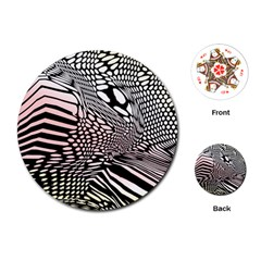 Abstract Fauna Pattern When Zebra And Giraffe Melt Together Playing Cards (Round)