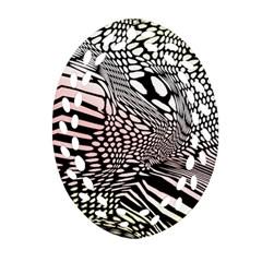 Abstract Fauna Pattern When Zebra And Giraffe Melt Together Oval Filigree Ornament (Two Sides)