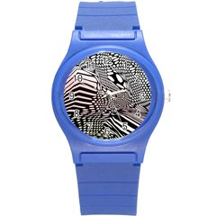 Abstract Fauna Pattern When Zebra And Giraffe Melt Together Round Plastic Sport Watch (S)