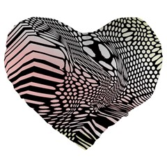 Abstract Fauna Pattern When Zebra And Giraffe Melt Together Large 19  Premium Heart Shape Cushions