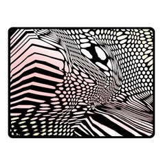 Abstract Fauna Pattern When Zebra And Giraffe Melt Together Double Sided Fleece Blanket (small)