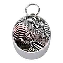 Abstract Fauna Pattern When Zebra And Giraffe Melt Together Mini Silver Compasses