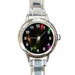 Star Lights Abstract Colourful Star Light Background Round Italian Charm Watch