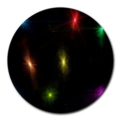 Star Lights Abstract Colourful Star Light Background Round Mousepads