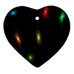 Star Lights Abstract Colourful Star Light Background Ornament (Heart)