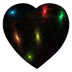 Star Lights Abstract Colourful Star Light Background Jigsaw Puzzle (Heart)