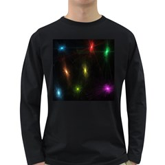 Star Lights Abstract Colourful Star Light Background Long Sleeve Dark T Shirts