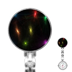 Star Lights Abstract Colourful Star Light Background Stainless Steel Nurses Watch