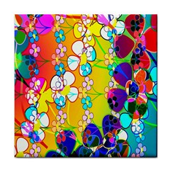 Abstract Flowers Design Tile Coasters