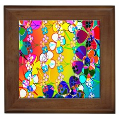 Abstract Flowers Design Framed Tiles