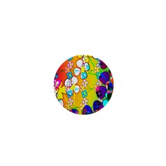 Abstract Flowers Design 1  Mini Buttons
