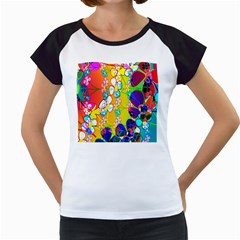 Abstract Flowers Design Women s Cap Sleeve T