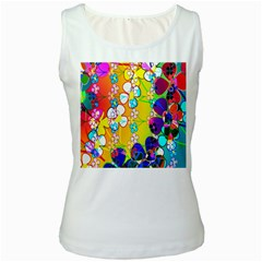 Abstract Flowers Design Women s White Tank Top