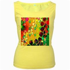 Abstract Flowers Design Women s Yellow Tank Top