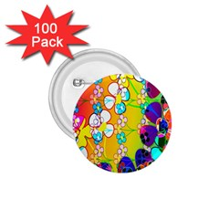 Abstract Flowers Design 1.75  Buttons (100 pack)