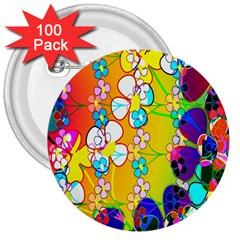Abstract Flowers Design 3  Buttons (100 pack)