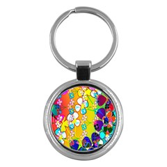 Abstract Flowers Design Key Chains (Round)