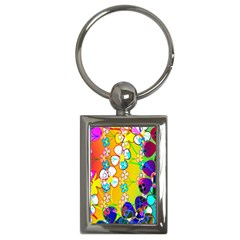Abstract Flowers Design Key Chains (Rectangle)