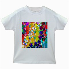 Abstract Flowers Design Kids White T-Shirts