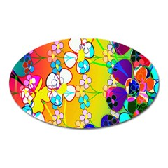 Abstract Flowers Design Oval Magnet