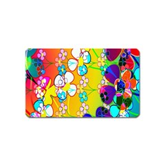 Abstract Flowers Design Magnet (name Card)